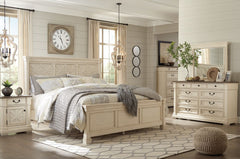 Bolanburg Antique White King Bed w/ Dresser Mirror & Nightstand