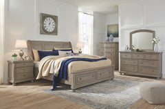 Lettner King Storage Bed w/ Dresser Mirror & Nightstand