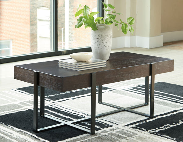 Drewing - Dark Brown - Rectangular Cocktail Table