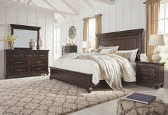 Brynhurst Dark Brown King Bed w/ Dresser Mirror & Nightstand