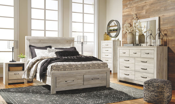 Bellaby Whitewash Queen Storage Bed w/ Dresser & Mirror