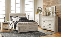 Bellaby Whitewash Queen Storage Bed w/ Dresser Mirror & Nightstand