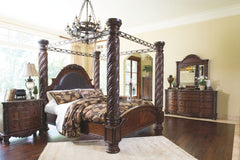 North Shore King Poster Canopy Bed w/ Dresser Mirror & 2Nightstand