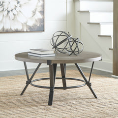 Zontini - Light Brown - Round Cocktail Table