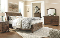 Flynnter King Storage Bed with Dresser Mirror and Nightstand