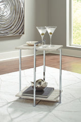 Bodalli - Ivory/Chrome - Chair Side End Table