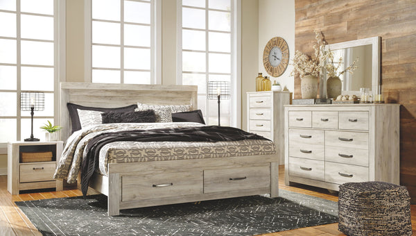 Bellaby Whitewash King Storage Bed w/ Dresser Mirror & Nightstand