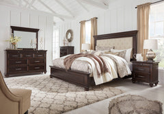 Brynhurst Dark Brown Queen Uph Bed w/ Dresser & Mirror