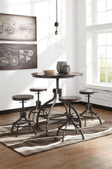 Odium Rustic Brown Pub Table & 4 Barstools