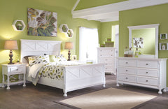 Kaslyn White Queen Bed w/ Dresser Mirror & Nightstand