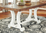 Valebeck - White/Brown - Rectangular Dining Room Table