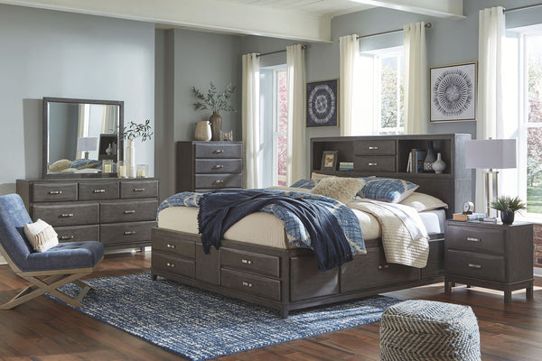 Caitbrook Gray Queen Bed w/ Dresser Mirror & Nightstand