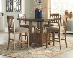 Flaybern Brown Pub Table & 4 Barstools