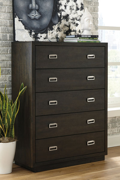 Hyndell - Dark Brown - Five Drawer Chest