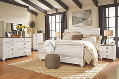 Willowton Whitewash King Sleigh Bed w/ Dresser & Mirror