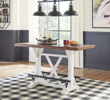 Valebeck - White/Brown - RECT Dining Room Counter Table