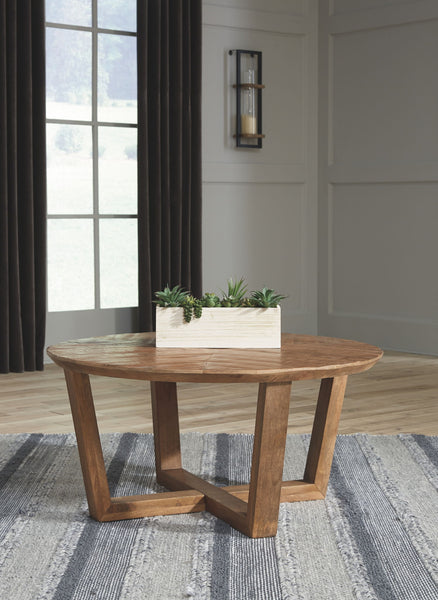 Kinnshee - Brown - Round Cocktail Table