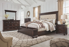 Brynhurst Dark Brown Queen Uph Storage Bed w/ Dresser & Mirror