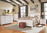 Willowton Whitewash Queen Bed w/ Dresser & Mirror