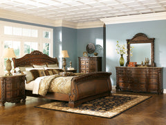 North Shore Queen Sleigh Bed w/ Dresser & Mirror& 2Nightstand