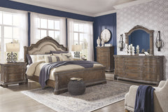 Charmond Brown Queen Bed w/Dresser, Mirror and Nightstand