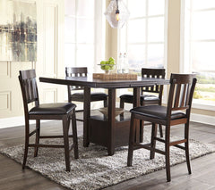 Haddigan Dark Brown Counter Table & 4 Barstools