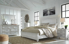 Kanwyn King Upholstered Bed w/ Dresser Mirror & Nightstand