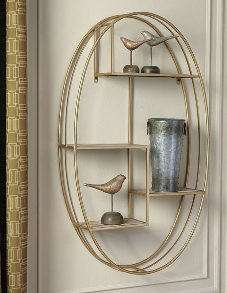 Elettra- Natural/Gold Finish Wall Shelf - Ashley shop at  Regency Furniture