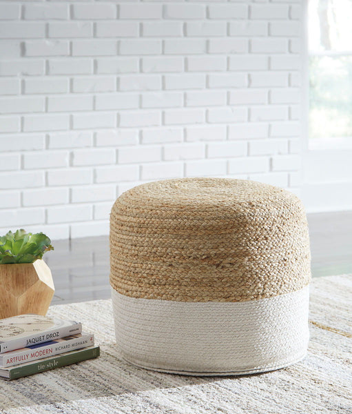 Sweed Valley- Natural/White Pouf - Ashley shop at  Regency Furniture