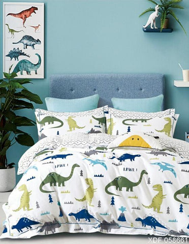 Dinosaurs (blue green) on white