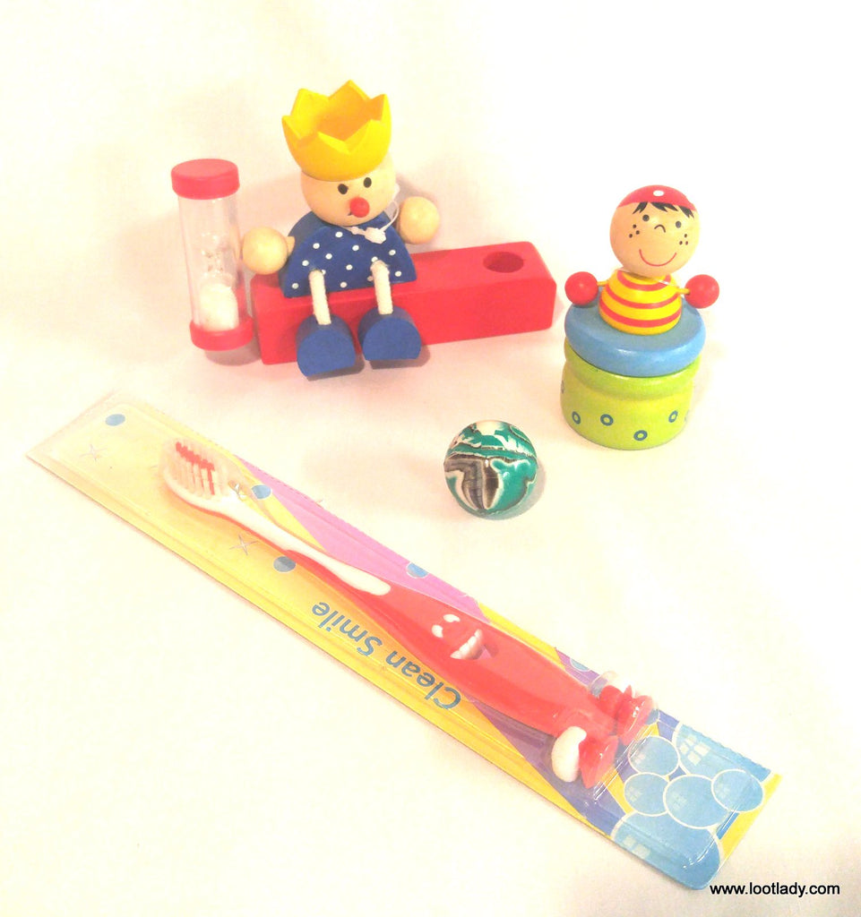 Baby Teeth Jar & Tooth Brush Timer Wooden Set Deluxe