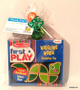 Wiggling Worm Wooden Grasping Toy 6mnth +