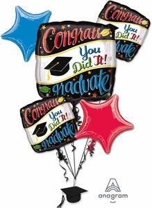 Graduation Foil Balloon Bouquet -  Infalated