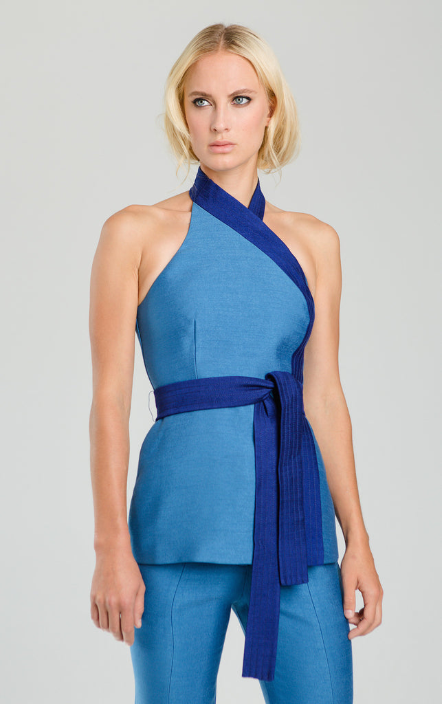 Bright blue wrap top from curriculum shop