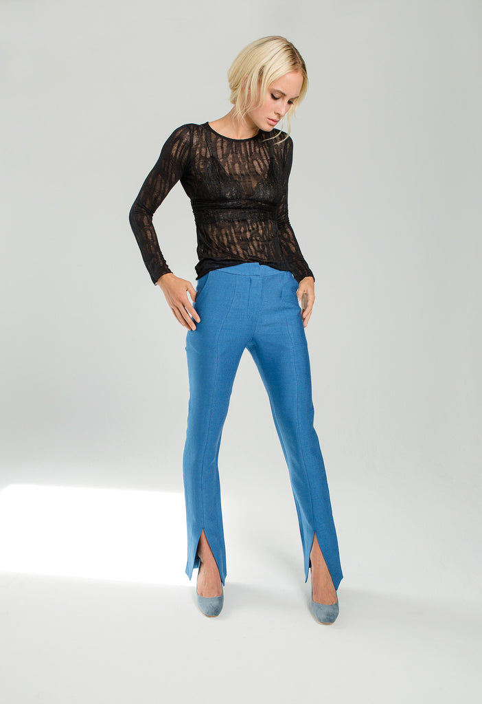 blue trouser with front slit fall new arrivals collection curriculum