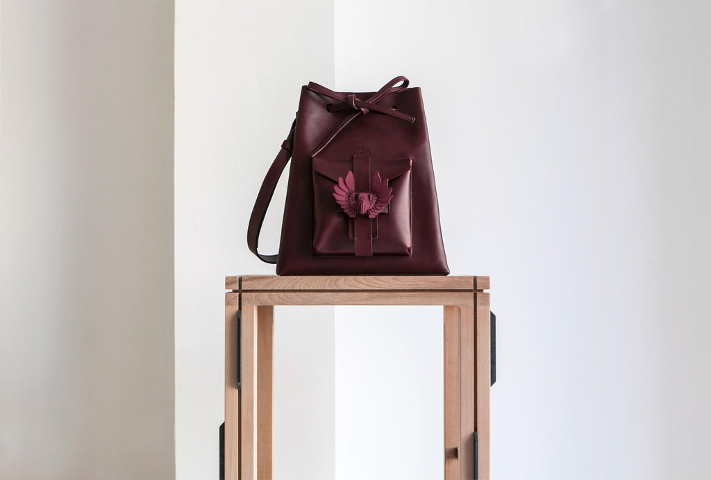 Exocet Paris burgundy bucket bag