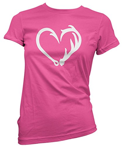 Antler Heart Funny I Love Hunting and Fishing Tshirt Graphic Funny Hunting tees for Women, Pink
