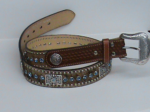 Nocona Blue Leather Belt with Blue Rhinestone - Pete's Town Western Wear