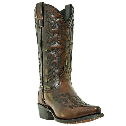 "Laredo Men's Classics 12"" Burnished Gold Fancy Stitched Cowboy Boots - Pete's Town Western Wear"