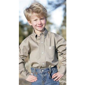 Cinch Boy's Khaki Solid Twill Pearl Button Long Sleeve Shirts - Pete's Town Western Wear