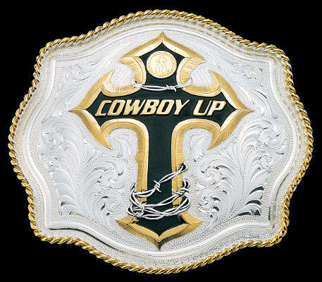 Montana SilverSmith Cowboy Up Cross  Belt Buckle - Pete's Town Western Wear