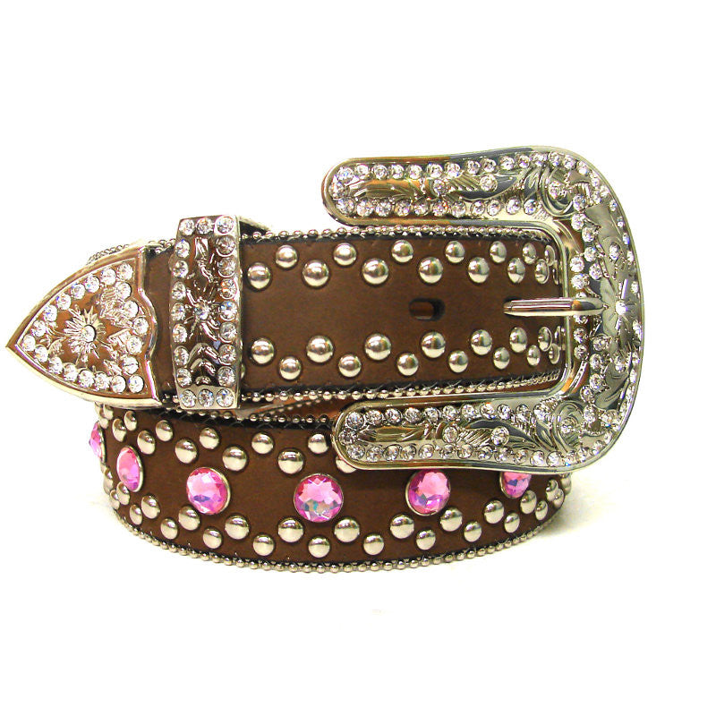 Blazin Roxx Ladies Pink Rhinestone Brown Leather Belt - Pete's Town Western Wear