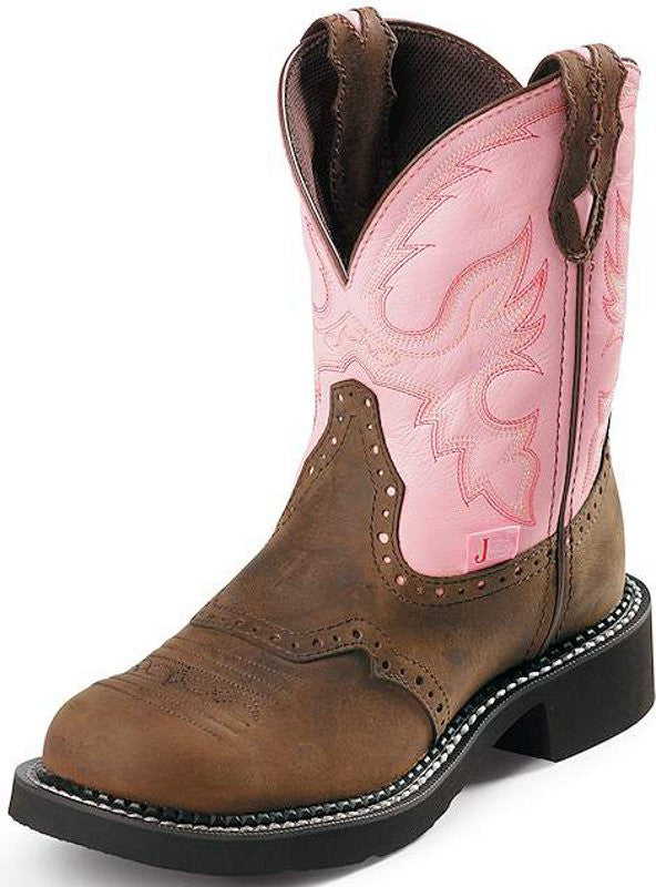 "Justin Womens Gypsy 8"" Tan And Pink Steel Toe Work Boots - Pete's Town Western Wear"