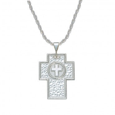 Montana Silversmiths Ladies Hammered Silver Cross Necklace - Pete's Town Western Wear