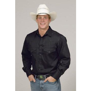Black Western Cut Long Sleeve Shirt - Pete's Town Western Wear