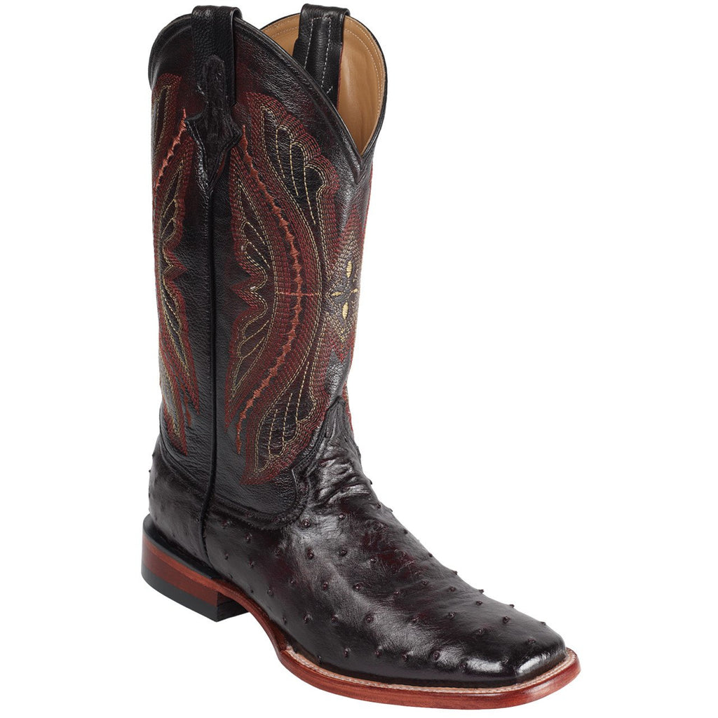 "Ferrini Men's 13"" Full Quill Ostrich Skin Black Cherry Square Toe Western Cowboy Boots. - Pete's Town Western Wear"