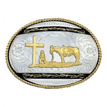 Montana SilverSmith Oval Barbed Wire Figure Western Belt Buckle - Pete's Town Western Wear