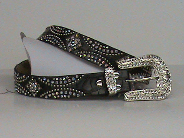 Nocona Ladies Fashion Rhinestone Black Croco Print Belt - Pete's Town Western Wear