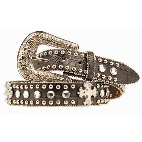 Blazin Roxx Ladies Silver Cross Applique Black Croc Leather Belt - Pete's Town Western Wear