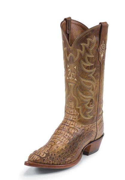 Tony Lama Men's Tan Vintage Hornback Caiman Pointed Toe Boots - Pete's Town Western Wear